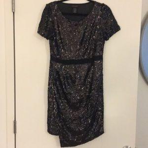 Sequin Faux-Wrap Dress